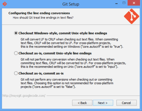 Configure line endings to check out windows style, but commit unix style